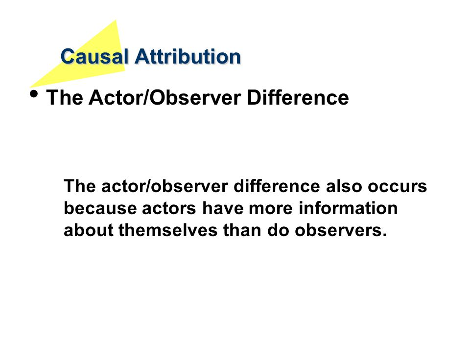 Causal Attribution The Actor/Observer Difference