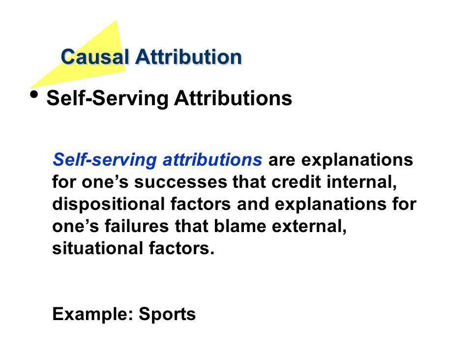 Causal Attribution Self-Serving Attributions