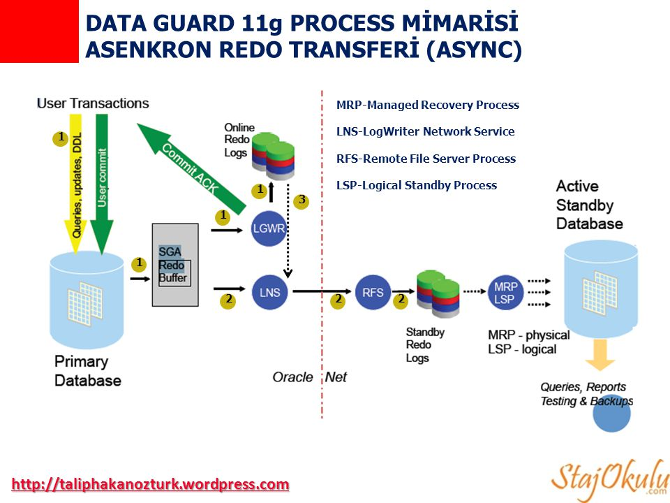 DATA GUARD 11g PROCESS MİMARİSİ ASENKRON REDO TRANSFERİ (ASYNC)