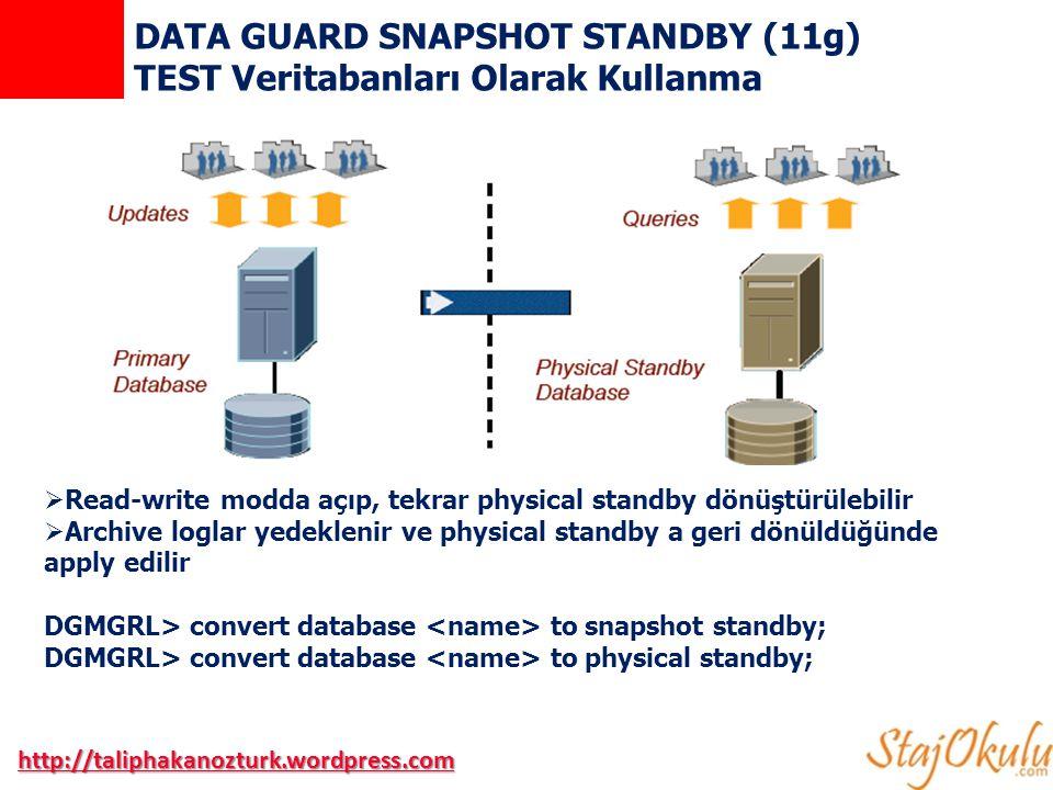 DATA GUARD SNAPSHOT STANDBY (11g) TEST Veritabanları Olarak Kullanma