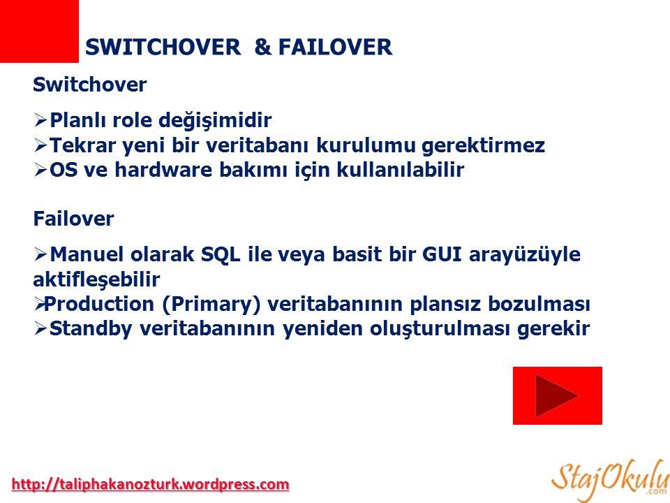 SWITCHOVER & FAILOVER Switchover Planlı role değişimidir