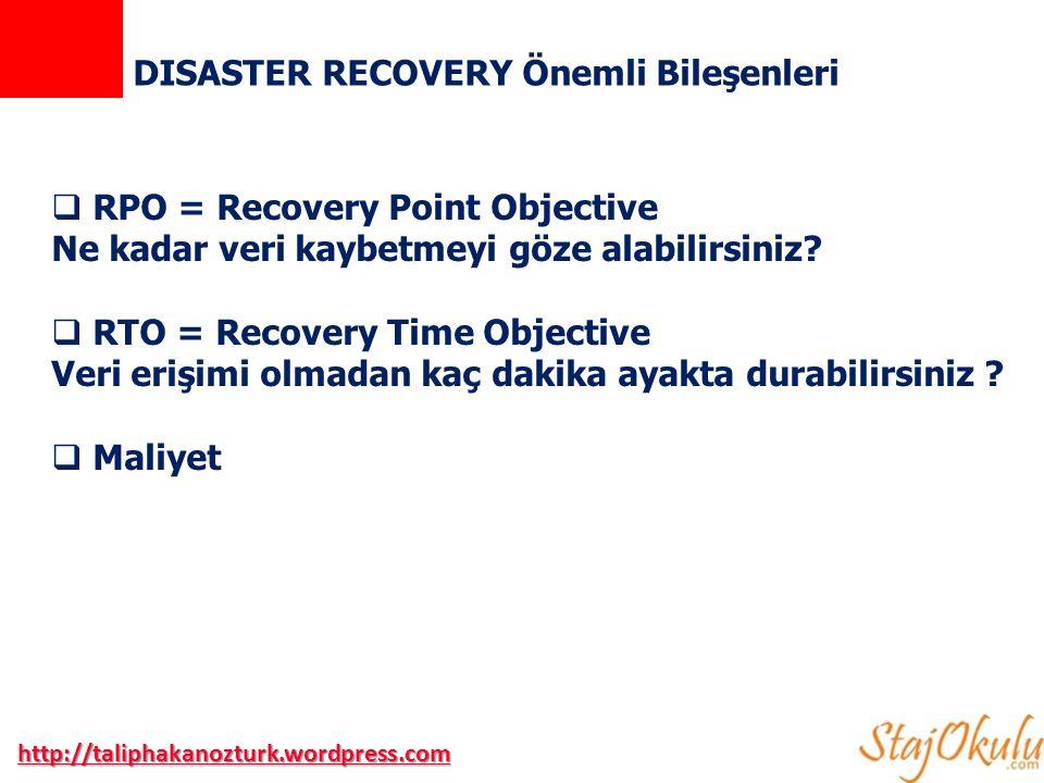 DISASTER RECOVERY Önemli Bileşenleri