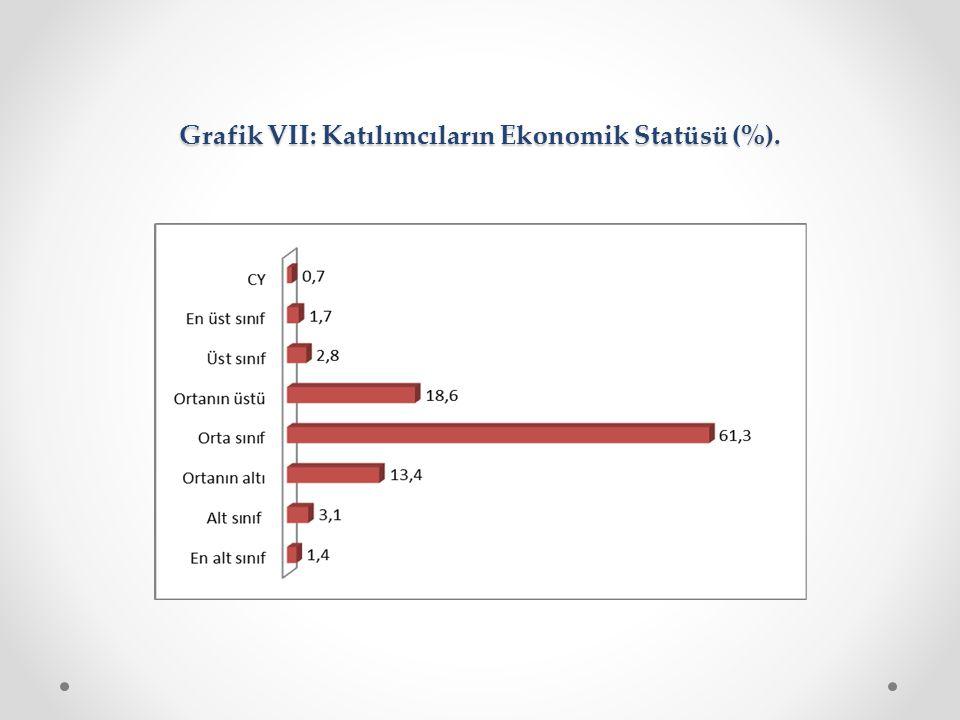 Grafik VII: Katılımcıların Ekonomik Statüsü (%).