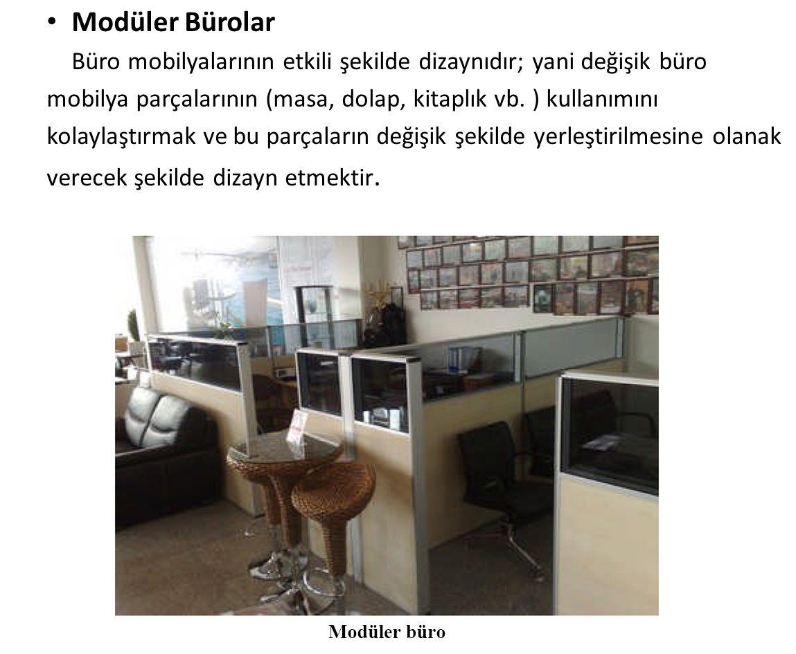 Modüler Bürolar Büro mobilyalarının etkili şekilde dizaynıdır; yani değişik büro. mobilya parçalarının (masa, dolap, kitaplık vb. ) kullanımını.