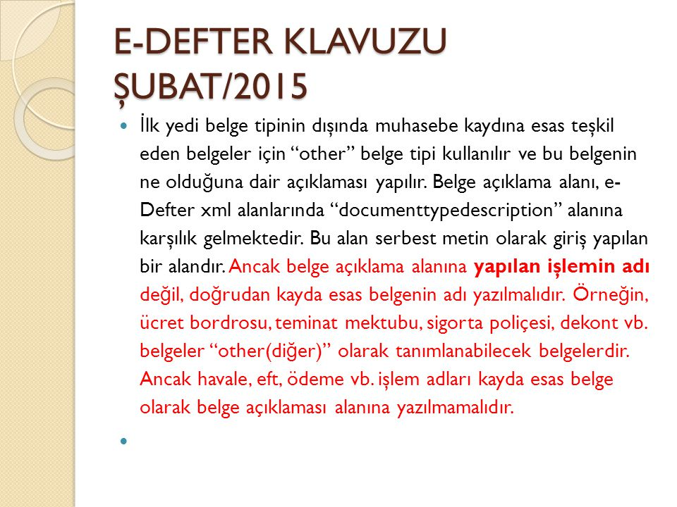 E-DEFTER KLAVUZU ŞUBAT/2015
