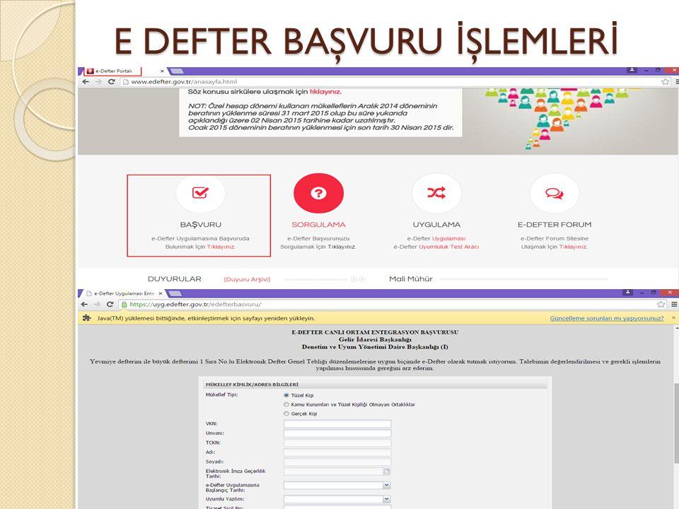 E DEFTER BAŞVURU İŞLEMLERİ