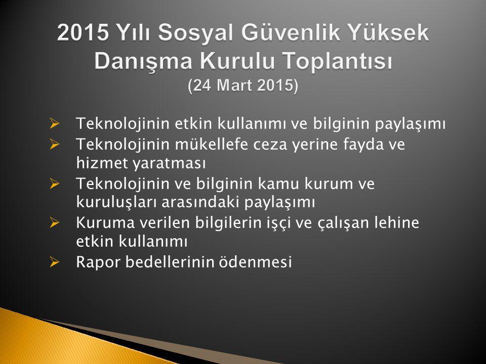 2015 Yılı Sosyal Güvenlik Yüksek Danışma Kurulu Toplantısı (24 Mart 2015)