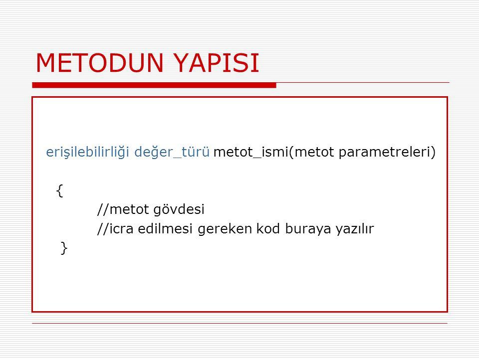METODUN YAPISI erişilebilirliği değer_türü metot_ismi(metot parametreleri) { //metot gövdesi.