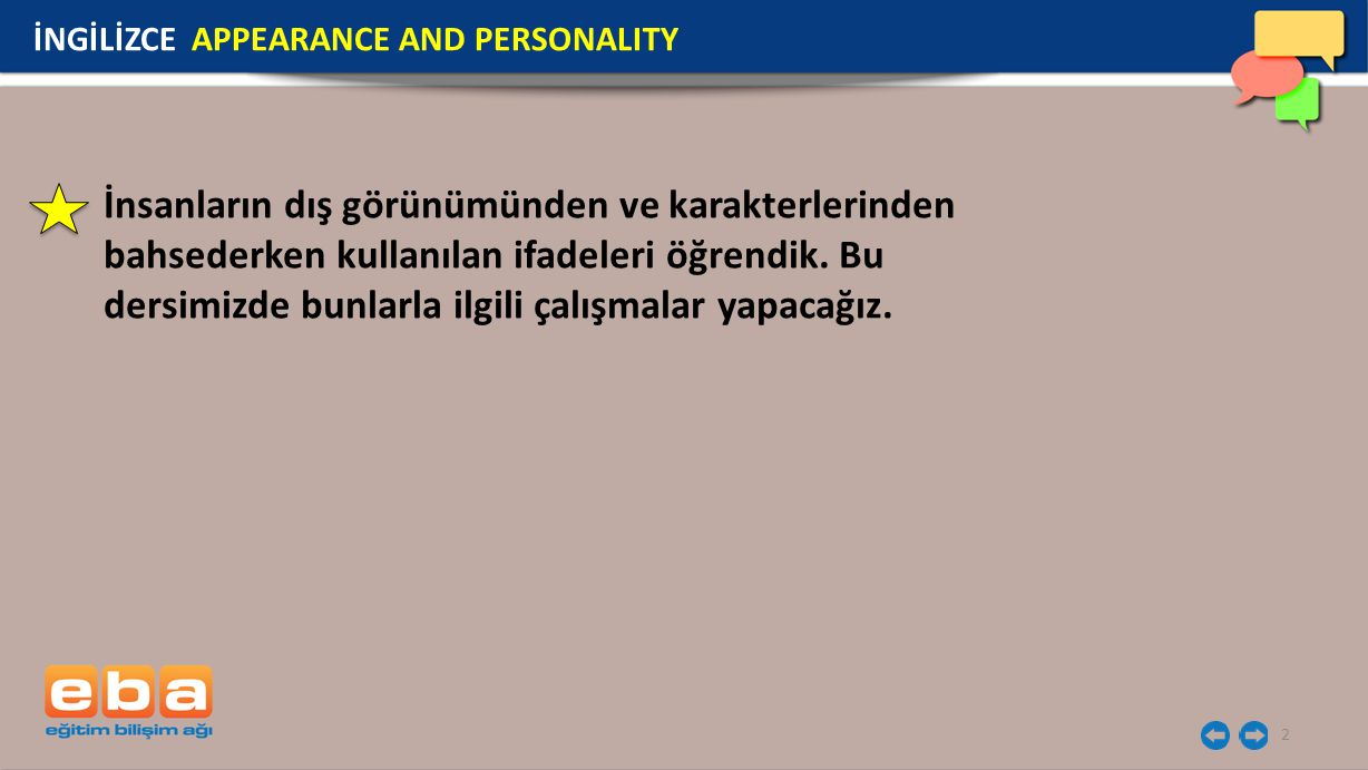 İNGİLİZCE APPEARANCE AND PERSONALITY