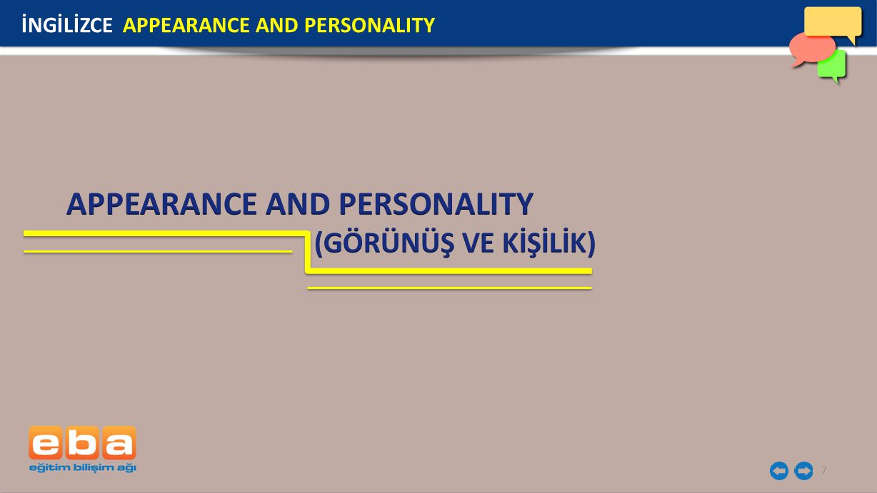 APPEARANCE AND PERSONALITY