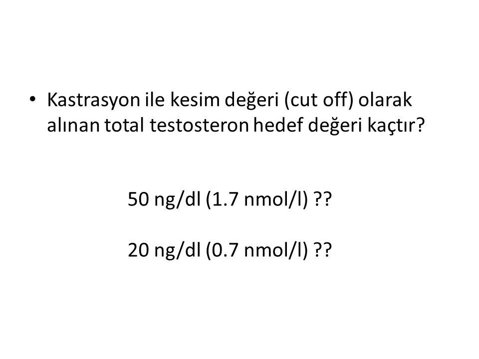 Kastrasyon ile kesim değeri (cut off) olarak alınan total testosteron hedef değeri kaçtır