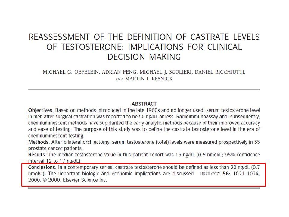 Kastrasyon ile kesim değeri (cut off) olarak alınan total testosteron hedef değeri kaç olmalıdır diye bir sorumuz vardı.