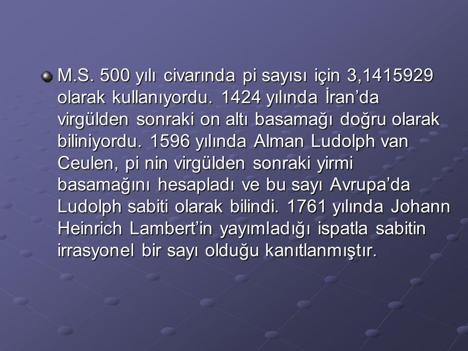 M. S. 500 yılı civarında pi sayısı için 3,1415929 olarak kullanıyordu