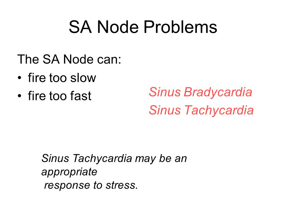 SA Node Problems The SA Node can: fire too slow fire too fast