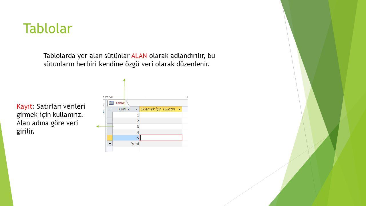 Tablolar Tablolarda yer alan sütünlar ALAN olarak adlandırılır, bu sütunların herbiri kendine özgü veri olarak düzenlenir.