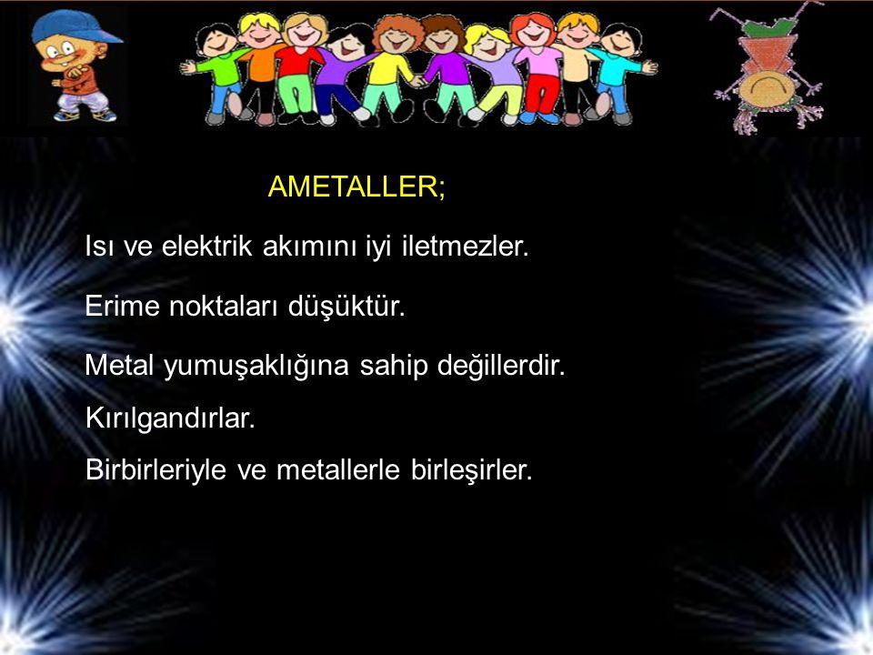 AMETALLER; Isı ve elektrik akımını iyi iletmezler