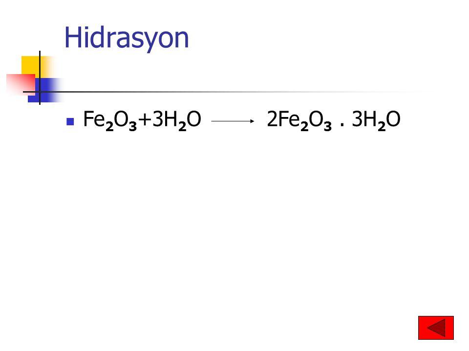 Hidrasyon Fe2O3+3H2O 2Fe2O3 . 3H2O