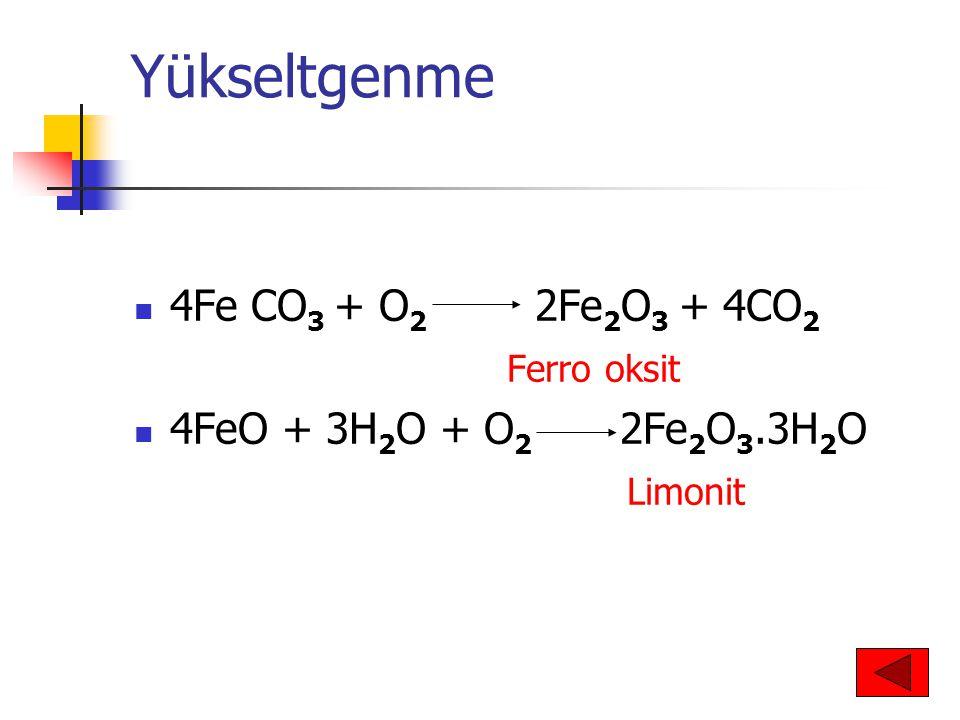 Yükseltgenme 4Fe CO3 + O2 2Fe2O3 + 4CO2 Ferro oksit