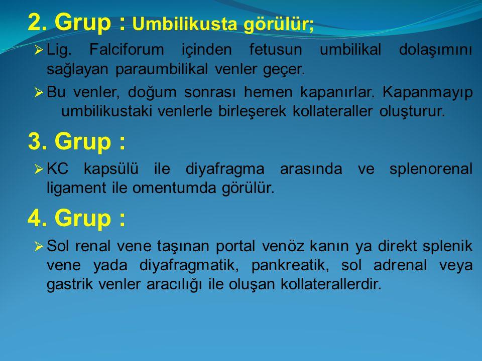 2. Grup : Umbilikusta görülür;