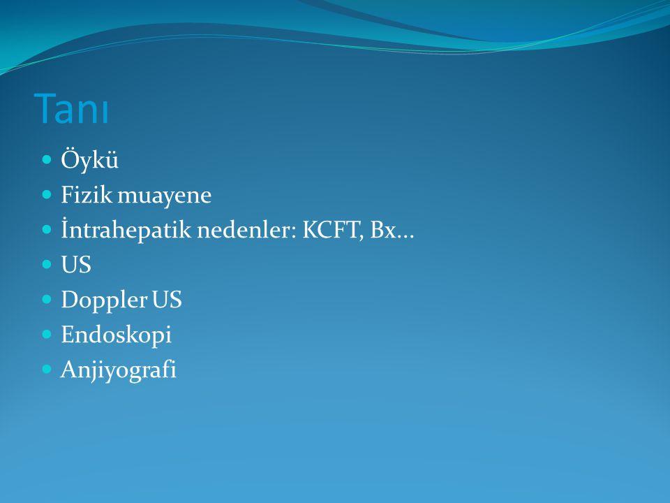 Tanı Öykü Fizik muayene İntrahepatik nedenler: KCFT, Bx... US