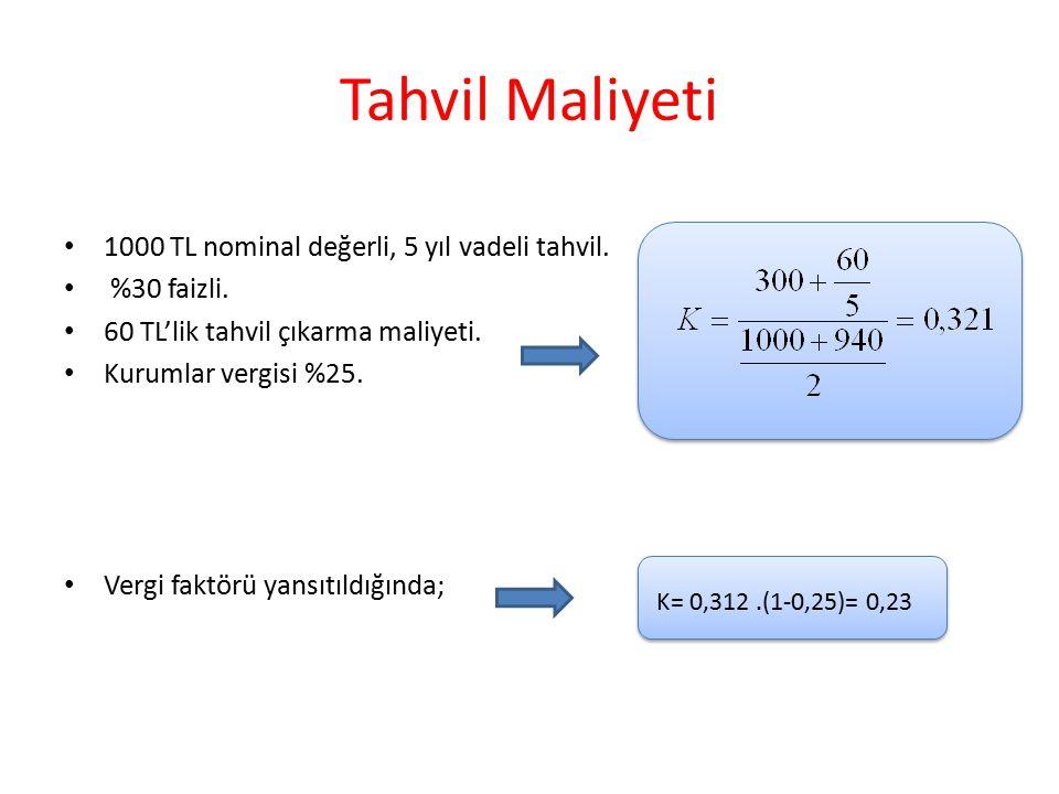 Tahvil Maliyeti 1000 TL nominal değerli, 5 yıl vadeli tahvil.