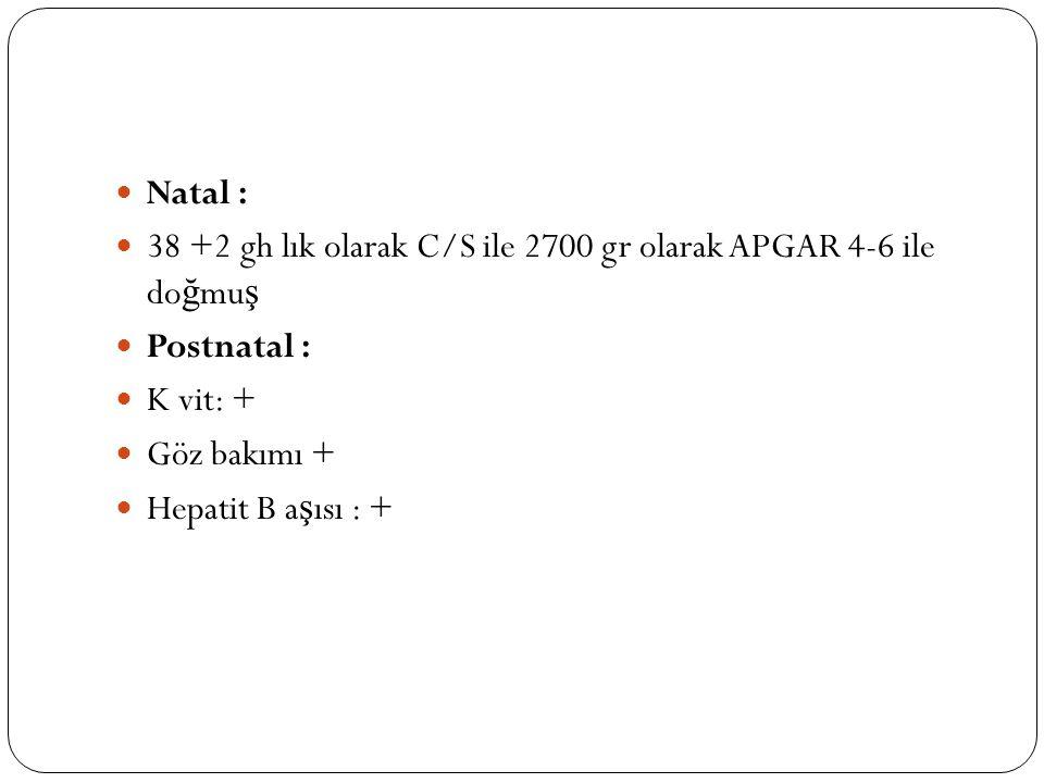 Natal : 38 +2 gh lık olarak C/S ile 2700 gr olarak APGAR 4-6 ile doğmuş. Postnatal : K vit: + Göz bakımı +