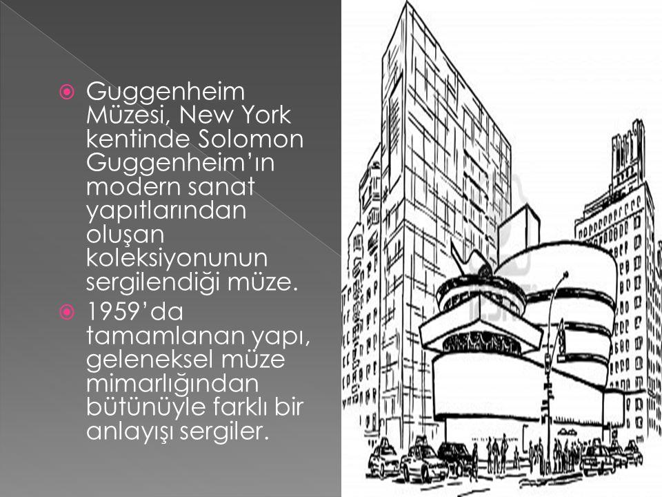 Guggenheim Müzesi, New York kentinde Solomon Guggenheim'ın modern sanat yapıtlarından oluşan koleksiyonunun sergilendiği müze.