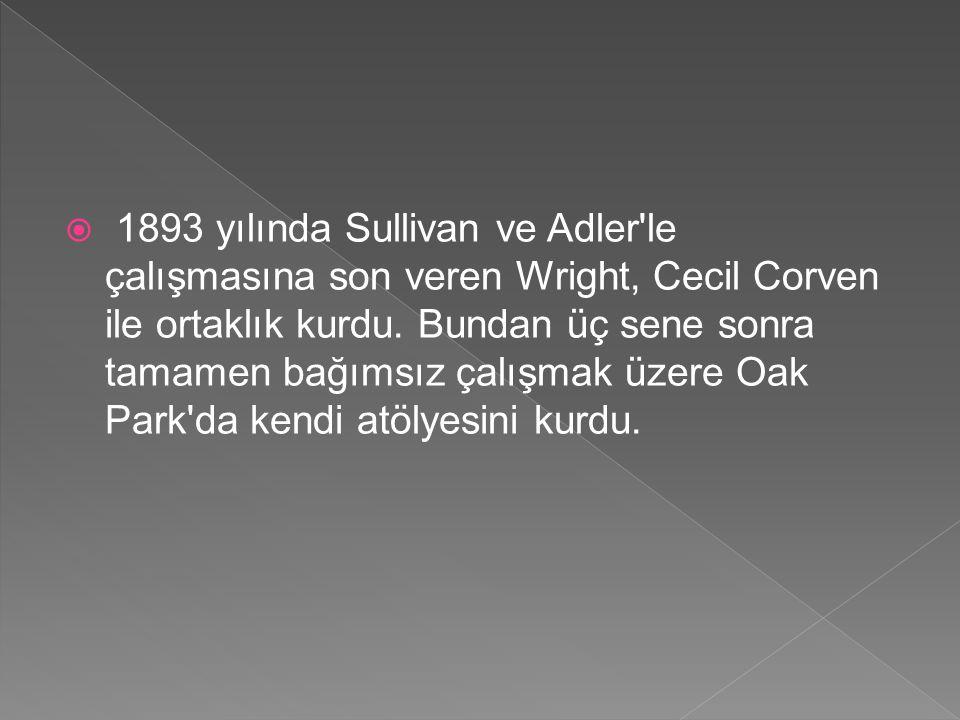 1893 yılında Sullivan ve Adler le çalışmasına son veren Wright, Cecil Corven ile ortaklık kurdu.
