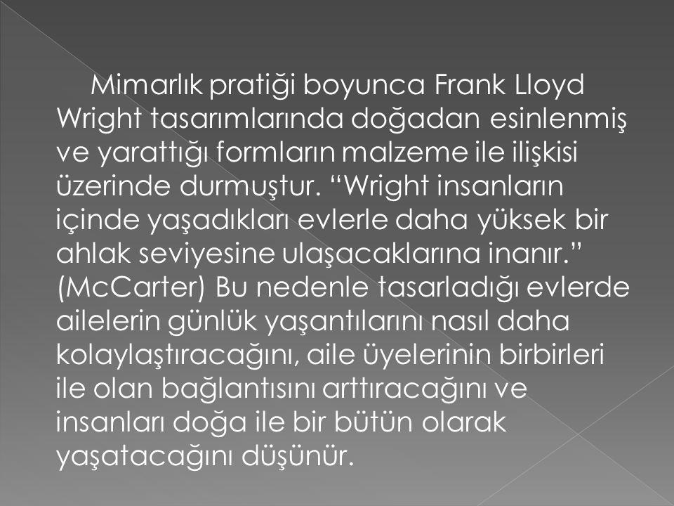 Mimarlık pratiği boyunca Frank Lloyd Wright tasarımlarında doğadan esinlenmiş ve yarattığı formların malzeme ile ilişkisi üzerinde durmuştur.