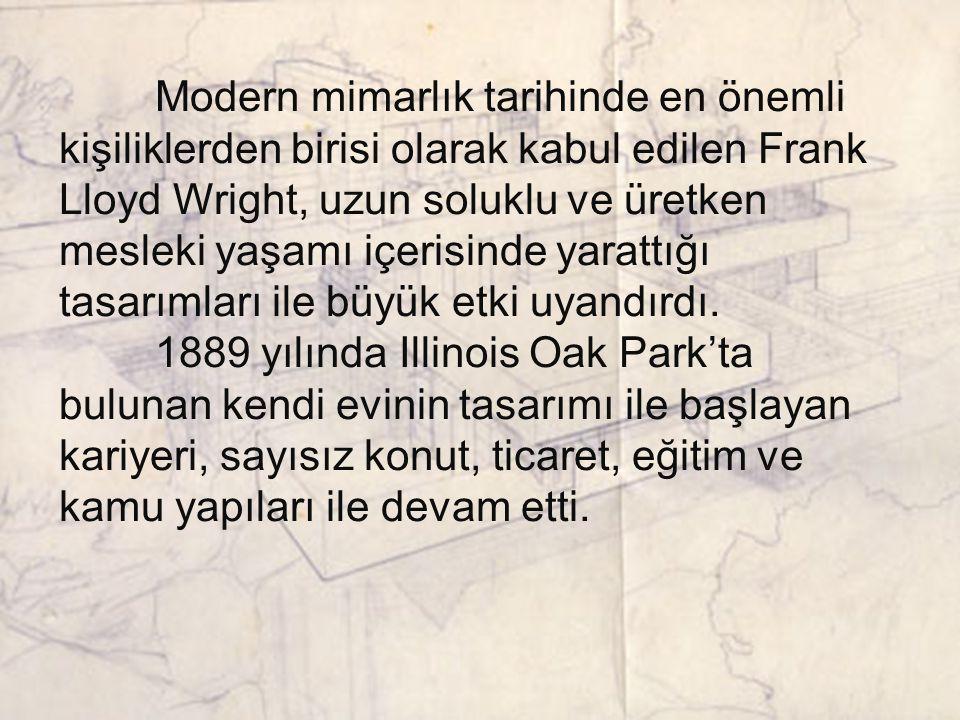 Modern mimarlık tarihinde en önemli kişiliklerden birisi olarak kabul edilen Frank Lloyd Wright, uzun soluklu ve üretken mesleki yaşamı içerisinde yarattığı tasarımları ile büyük etki uyandırdı.