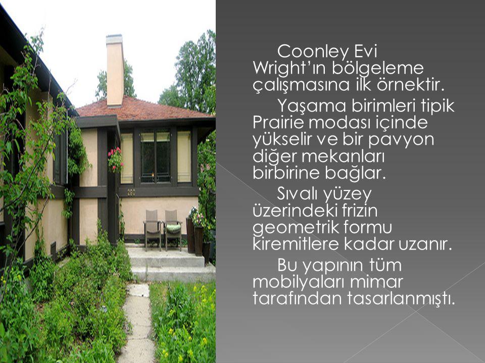 Coonley Evi Wright'ın bölgeleme çalışmasına ilk örnektir.
