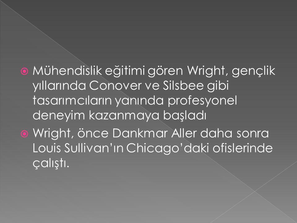 Mühendislik eğitimi gören Wright, gençlik yıllarında Conover ve Silsbee gibi tasarımcıların yanında profesyonel deneyim kazanmaya başladı