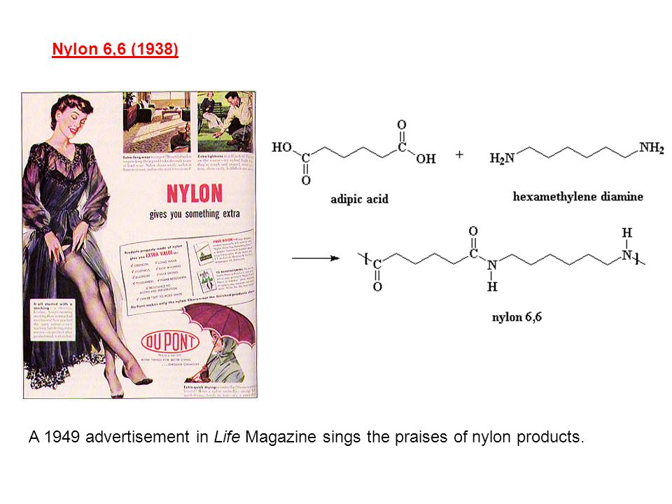 Nylon 6,6 (1938) A 1949 advertisement in Life Magazine sings the praises of nylon products.