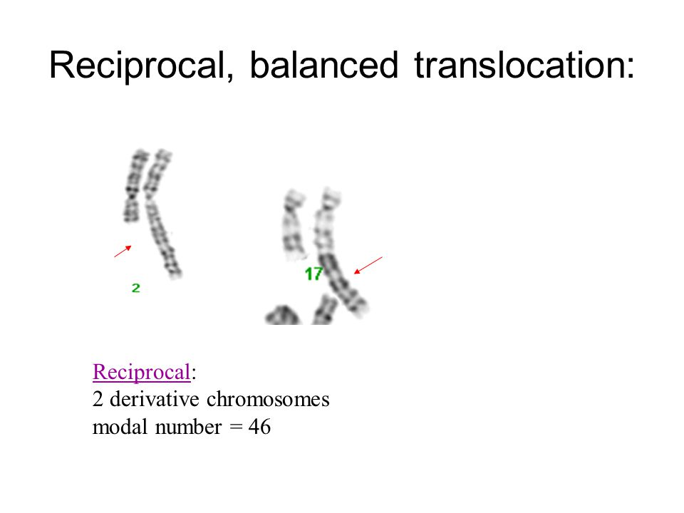 Reciprocal, balanced translocation: