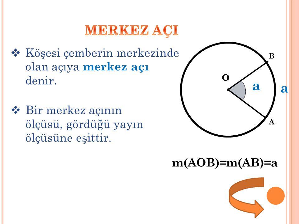 MERKEZ AÇI o a Köşesi çemberin merkezinde olan açıya merkez açı denir.