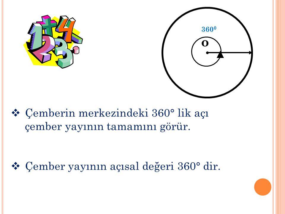 o Çemberin merkezindeki 360° lik açı çember yayının tamamını görür.