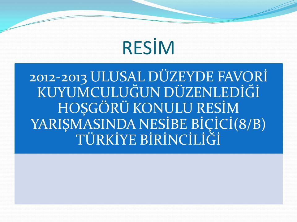 RESİM 2012-2013 ULUSAL DÜZEYDE FAVORİ KUYUMCULUĞUN DÜZENLEDİĞİ HOŞGÖRÜ KONULU RESİM YARIŞMASINDA NESİBE BİÇİCİ(8/B) TÜRKİYE BİRİNCİLİĞİ.