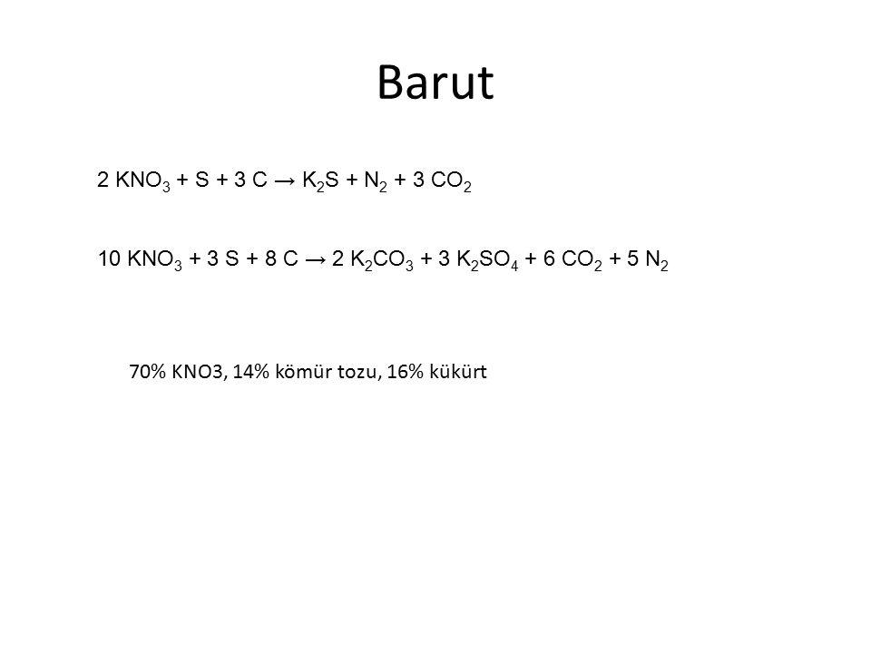 Barut 2 KNO3 + S + 3 C → K2S + N2 + 3 CO2