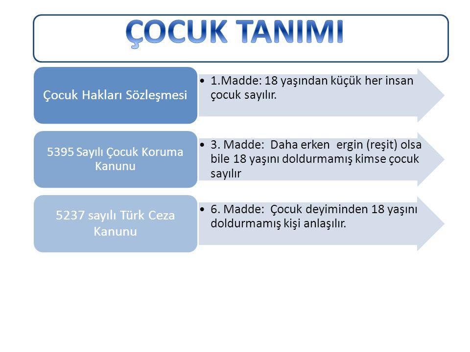 ÇOCUK TANIMI Çocuk Hakları Sözleşmesi 5237 sayılı Türk Ceza Kanunu