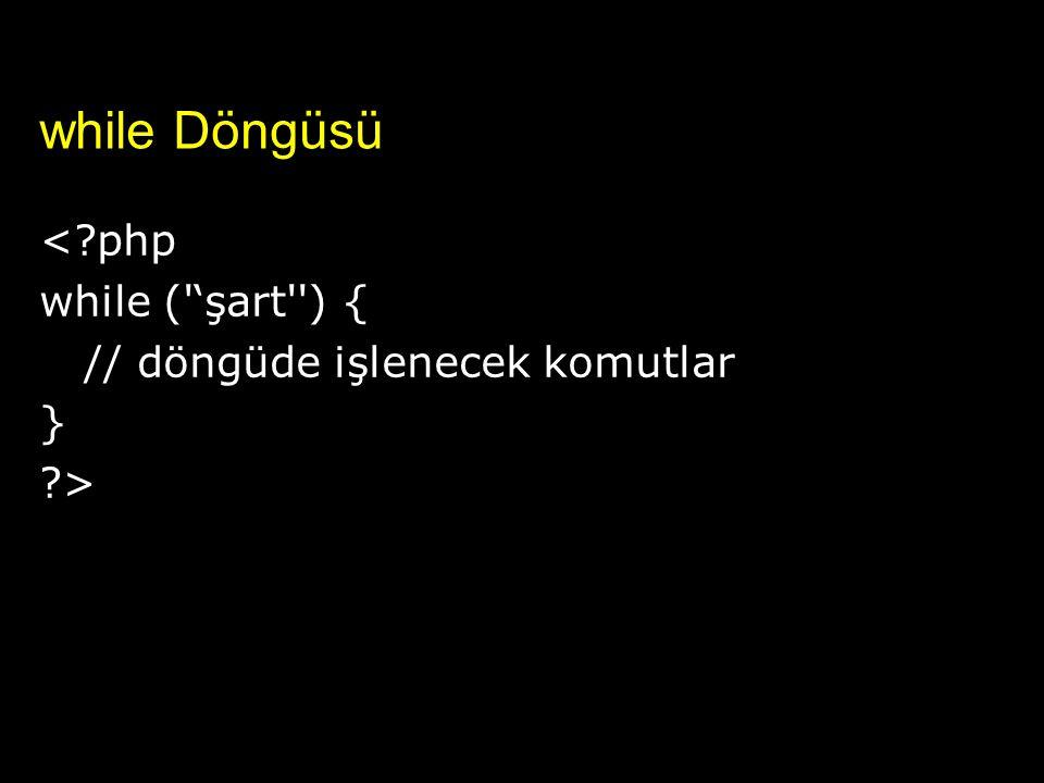 while Döngüsü < php while ( 'şart ) {