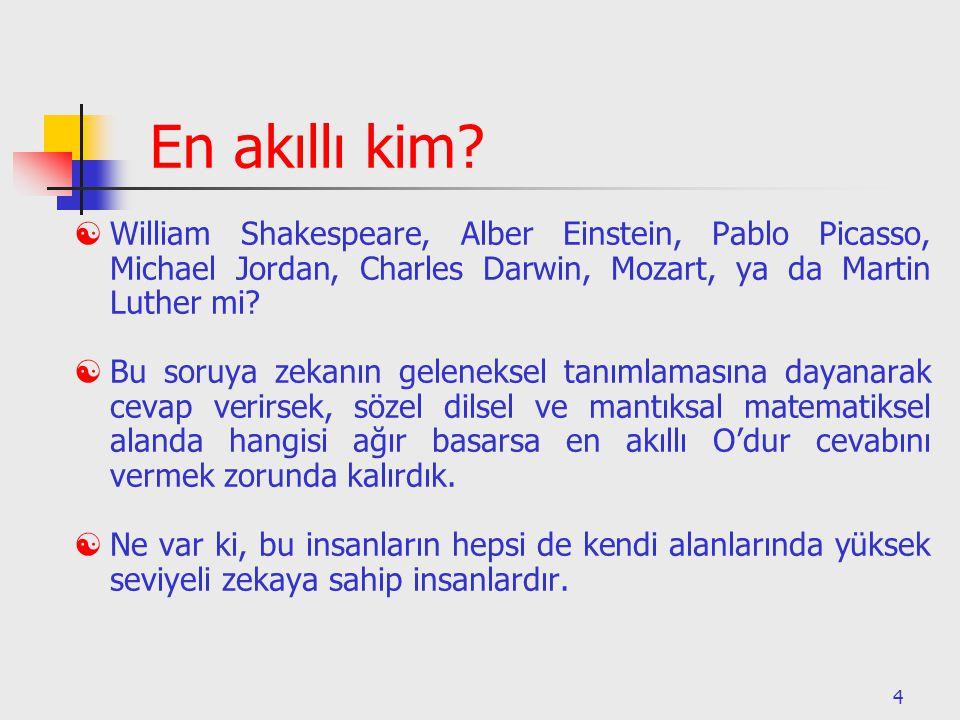 En akıllı kim William Shakespeare, Alber Einstein, Pablo Picasso, Michael Jordan, Charles Darwin, Mozart, ya da Martin Luther mi