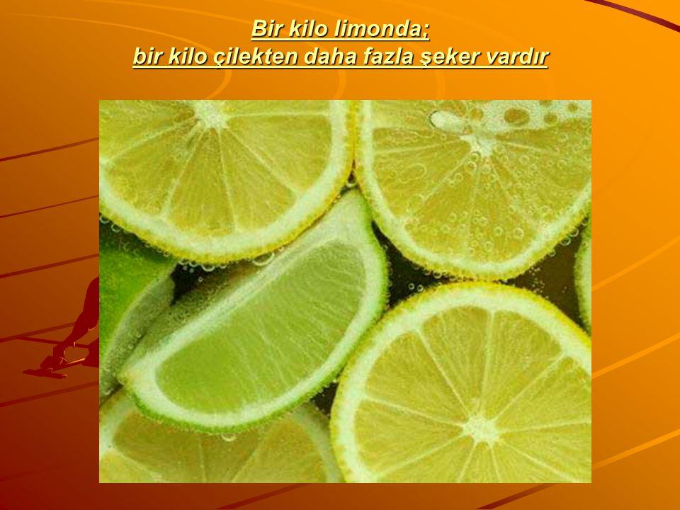 Bir kilo limonda; bir kilo çilekten daha fazla şeker vardır