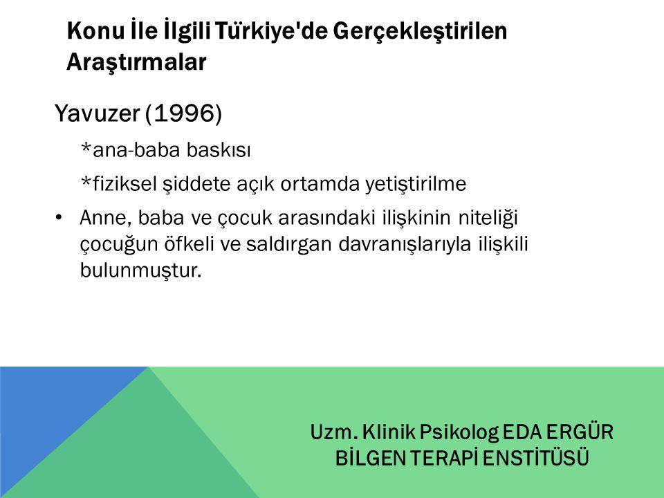 Konu İle İlgili Türkiye de Gerçekleştirilen Araştırmalar