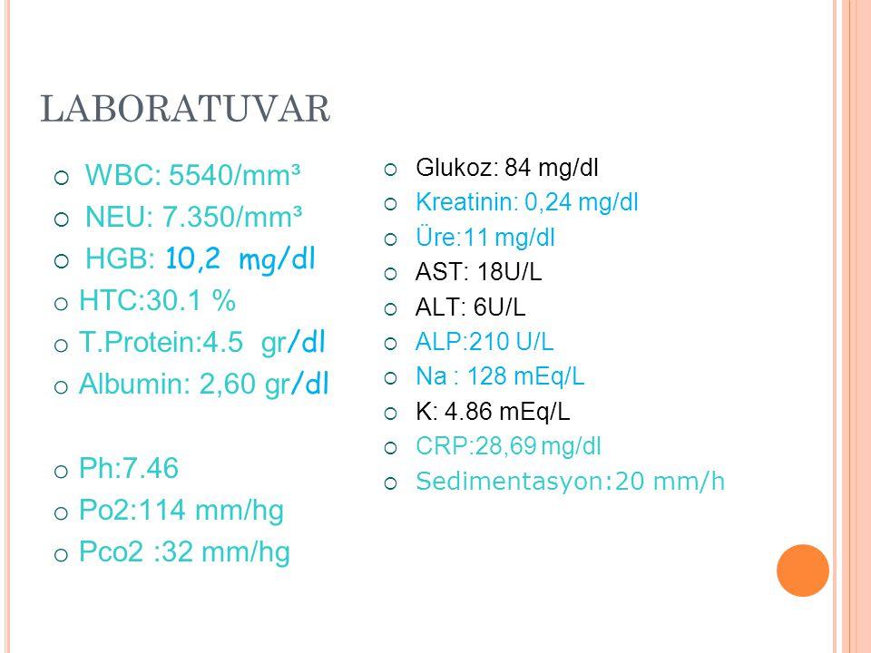 LABORATUVAR WBC: 5540/mm³ NEU: 7.350/mm³ HGB: 10,2 mg/dl HTC:30.1 %