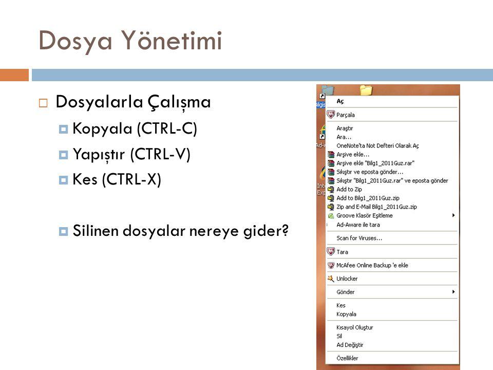 Dosya Yönetimi Dosyalarla Çalışma Kopyala (CTRL-C) Yapıştır (CTRL-V)