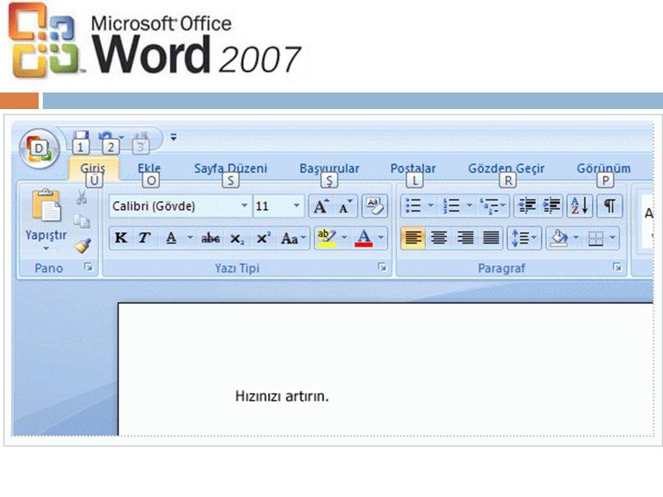ALT tuşuna basarak Şerit sekmeleri, Microsoft Office Düğmesi ve Hızlı Erişim Araç Çubuğu için Anahtar İpucu işaretlerini görüntüleyin.