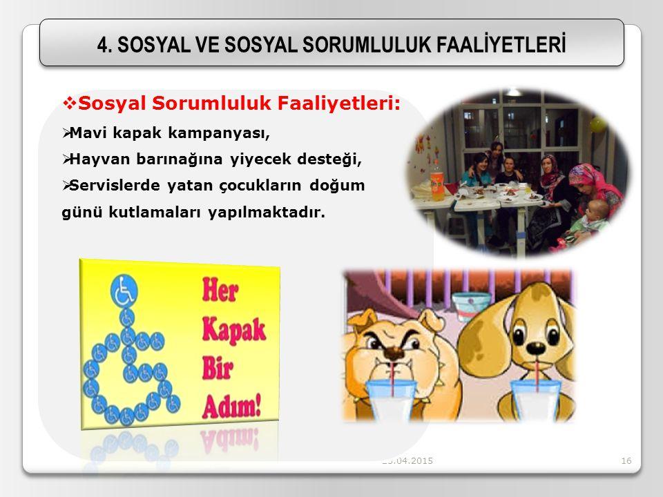 4. SOSYAL VE SOSYAL SORUMLULUK FAALİYETLERİ
