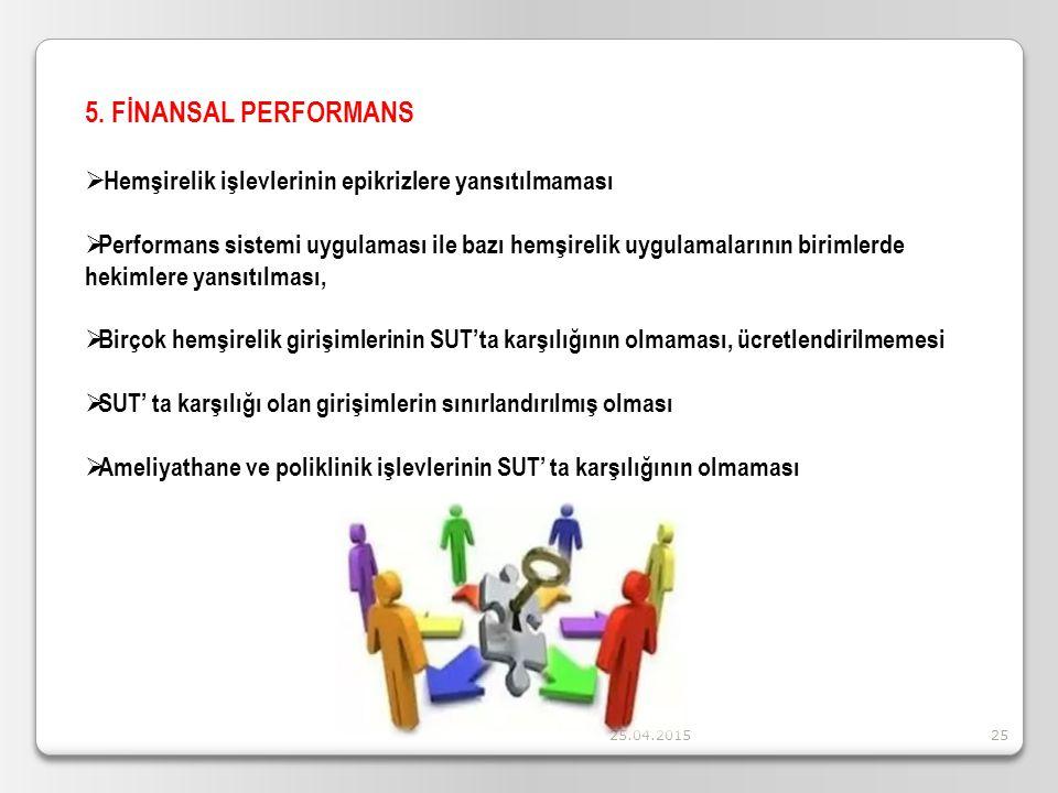 5. FİNANSAL PERFORMANS Hemşirelik işlevlerinin epikrizlere yansıtılmaması.