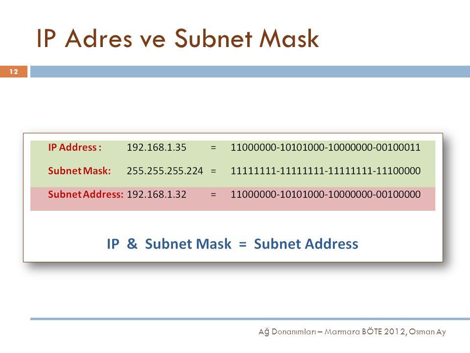 IP Adres ve Subnet Mask Ağ Donanımları – Marmara BÖTE 2012, Osman Ay