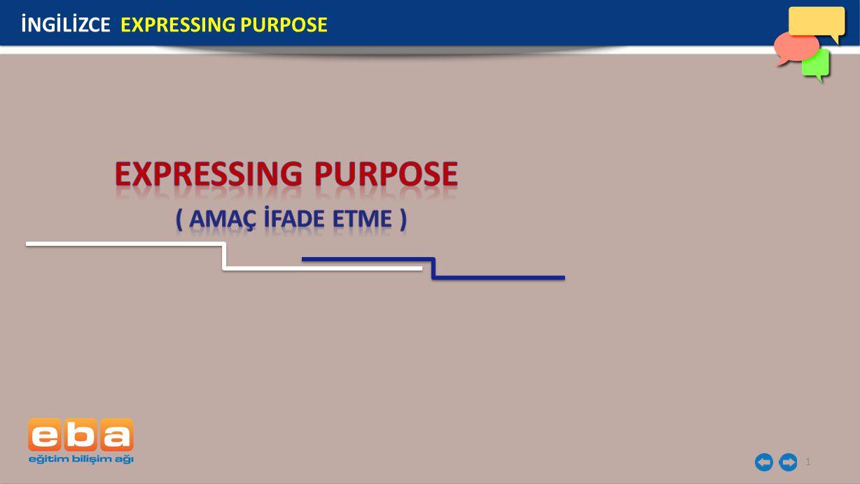 İNGİLİZCE EXPRESSING PURPOSE